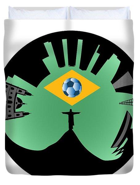 Vector Rio De Janeiro Skyline Duvet Cover by Michal Boubin