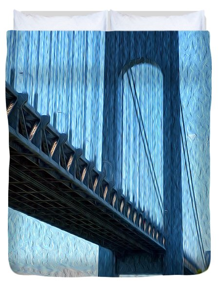 Verrazano Bridge Duvet Cover by Boris Mordukhayev