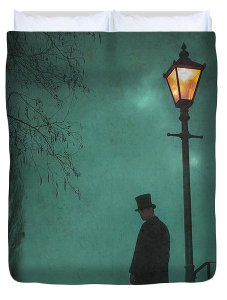 Victorian Man Standing Next To An Illuminated Gas Lamp Duvet Cover by Lee Avison