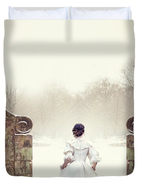 Victorian Woman In Snow Duvet Cover by Lee Avison
