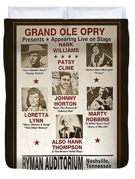 Vintage 1953 Grand Ole Opry Poster Duvet Cover