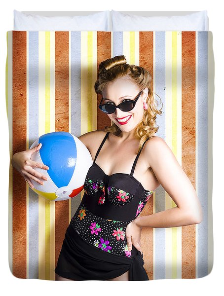Vintage Beach Babe On Retro Background Duvet Cover