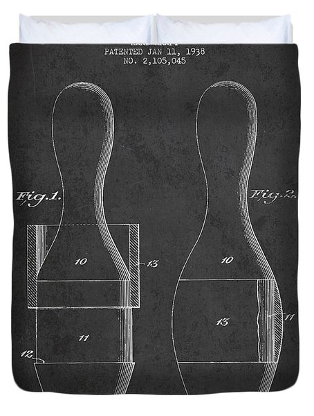 Vintage Bowling Pin Patent Drawing From 1938 Duvet Cover