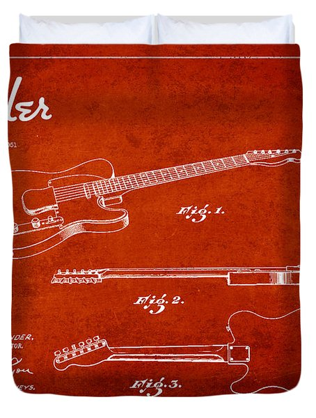 Vintage Fender Guitar Patent Drawing From 1951 Duvet Cover by Aged Pixel