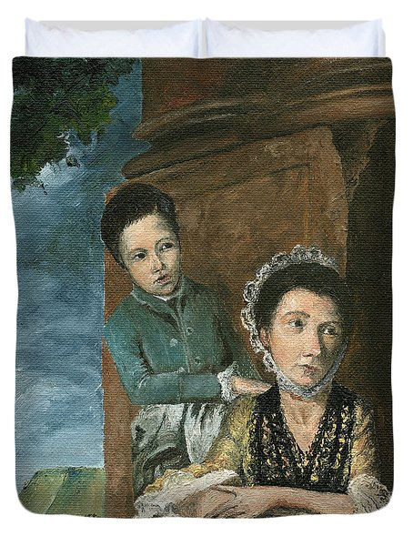Duvet Cover featuring the painting Vintage Mother And Son by Mary Ellen Anderson