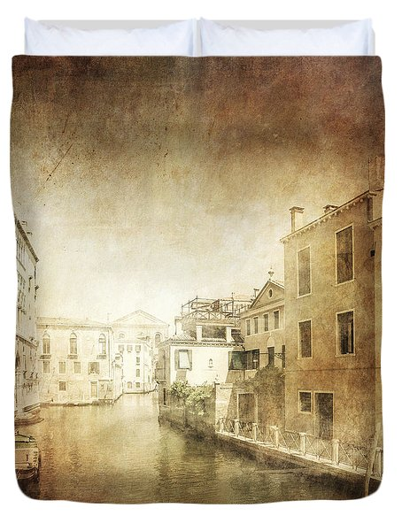 Vintage Photo Of Venetian Canal Duvet Cover by Evgeny Kuklev