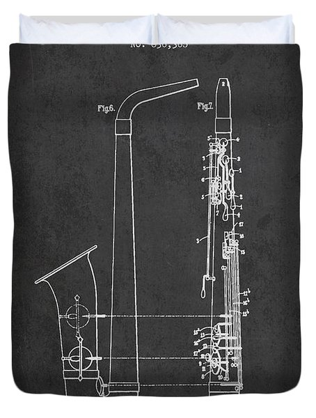 Saxophone Patent Drawing From 1899 - Dark Duvet Cover