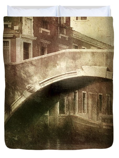 Vintage Shot Of Venetian Canal, Venice Duvet Cover by Evgeny Kuklev