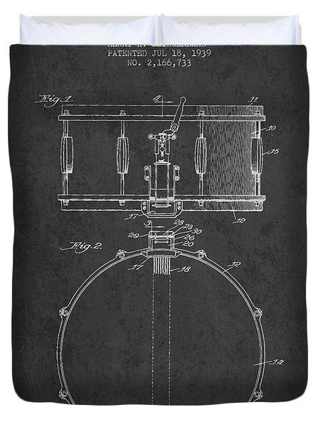 Snare Drum Patent Drawing From 1939 - Dark Duvet Cover by Aged Pixel