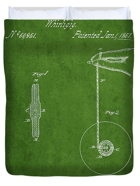 Vintage Yoyo Patent Drawing From 1867 Duvet Cover by Aged Pixel
