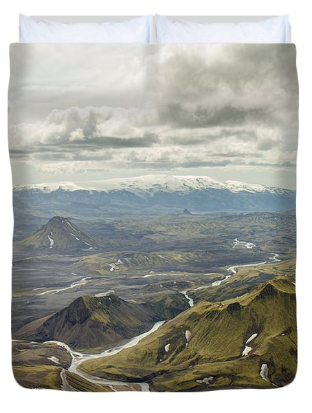 Volcano Valley In Iceland Duvet Cover