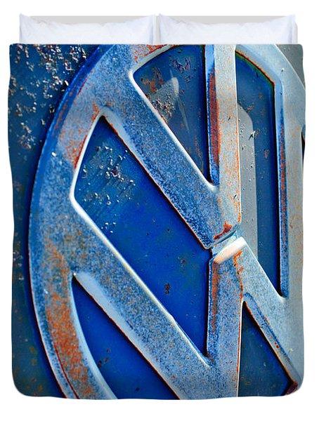 Volkswagen Vw Bus Front Emblem Duvet Cover by Jill Reger