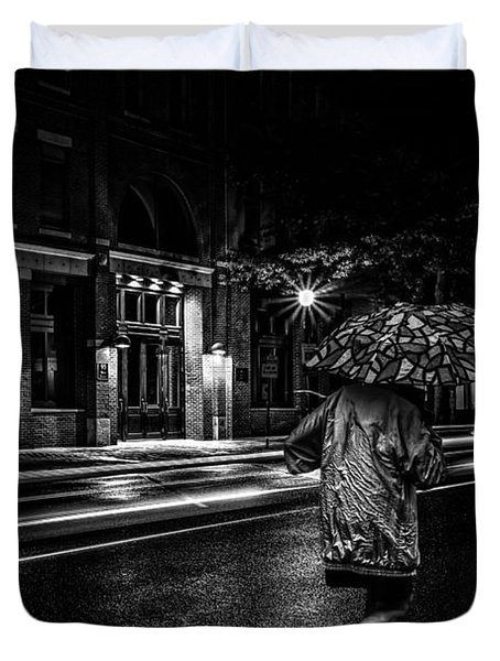 Walking In The Rain   Duvet Cover by Bob Orsillo