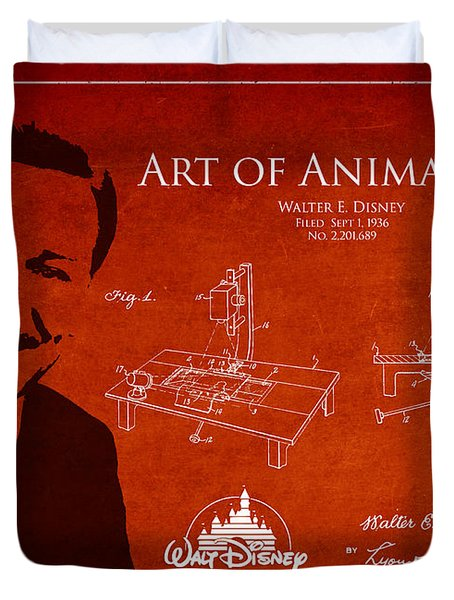 Walt Disney Patent From 1936 Duvet Cover by Aged Pixel