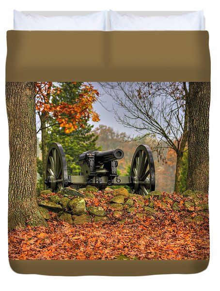 Duvet Cover featuring the photograph War Thunder - The Charlotte North Carolina Artillery Grahams Battery West Confederate Ave Gettysburg by Michael Mazaika