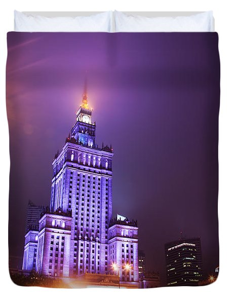 Warsaw Poland Downtown Skyline At Night Duvet Cover by Michal Bednarek