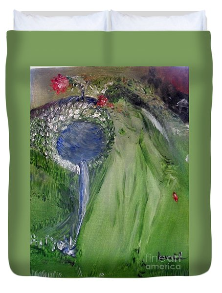 Duvet Cover featuring the painting Water Girl by Laurie Lundquist