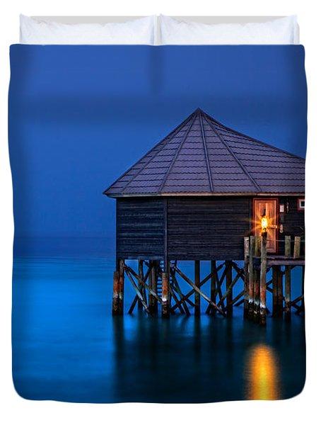 Water Villa In The Maldives Duvet Cover