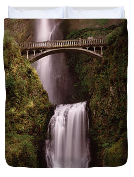 Waterfall In A Forest, Multnomah Falls Duvet Cover by Panoramic Images