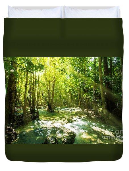 Waterfall In Rainforest Duvet Cover