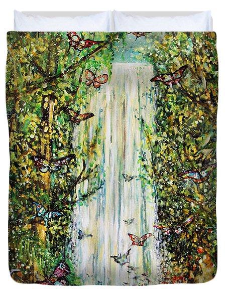 Waterfall Of Prosperity II Duvet Cover