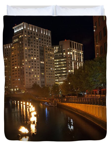 Waterfire.  Providence Rhode Island Duvet Cover by Juli Scalzi