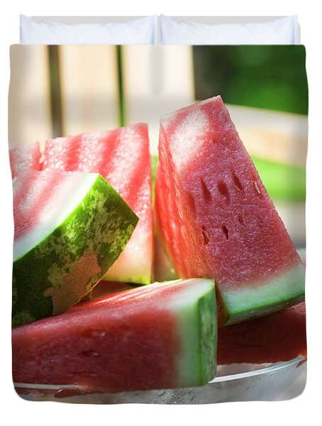 Watermelon Wedges In A Bowl Of Ice Cubes Duvet Cover