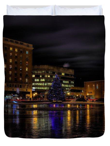 Wausau After Dark At Christmas Duvet Cover