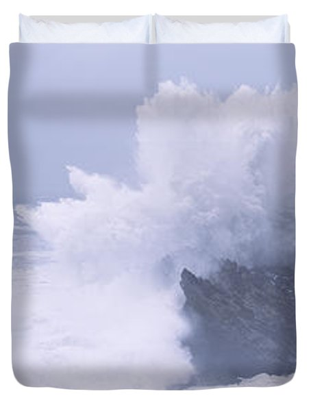 Waves Breaking On The Coast, Shore Duvet Cover by Panoramic Images