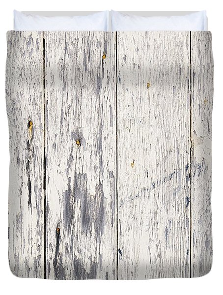 Weathered Paint On Wood Duvet Cover by Tim Hester