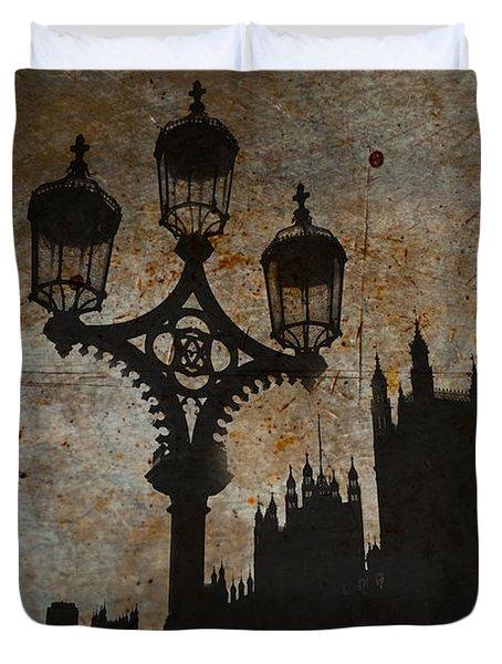 Duvet Cover featuring the digital art Westminster Silhouette by Matt Malloy