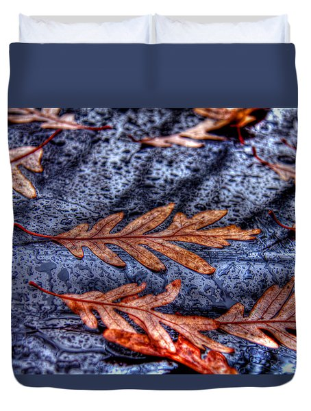 Wet Leaves And Raindrops 01 Duvet Cover by Andy Lawless