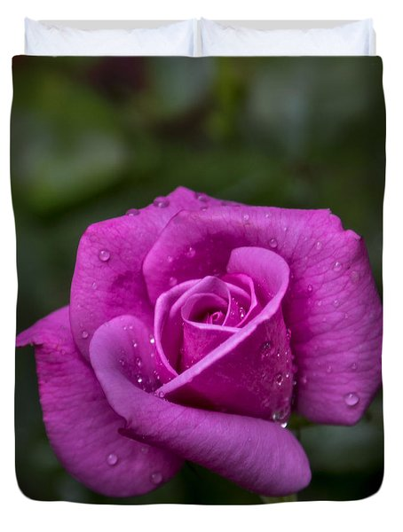 Duvet Cover featuring the photograph Wet Rose by Michael Waters