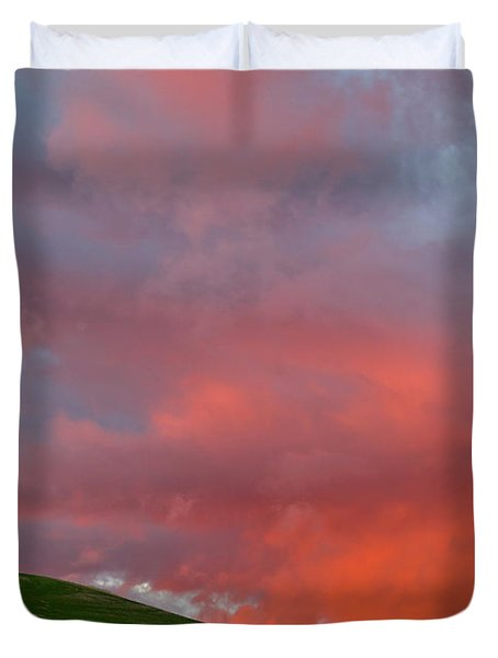Wheat Field At Sunset Palouse Hills Duvet Cover