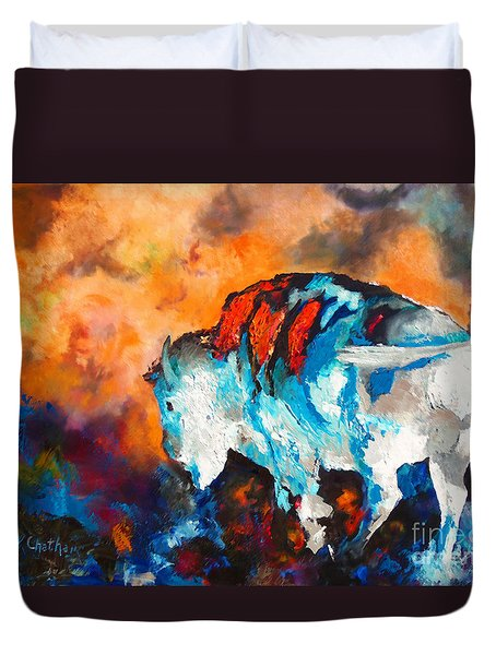 Duvet Cover featuring the painting White Buffalo Ghost by Karen Kennedy Chatham