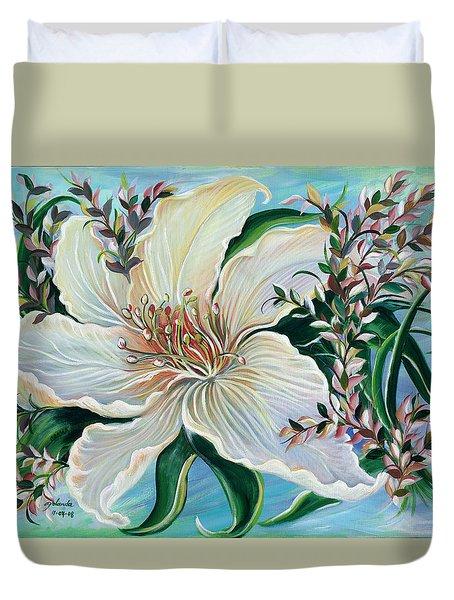 White Lily Duvet Cover by Yolanda Rodriguez