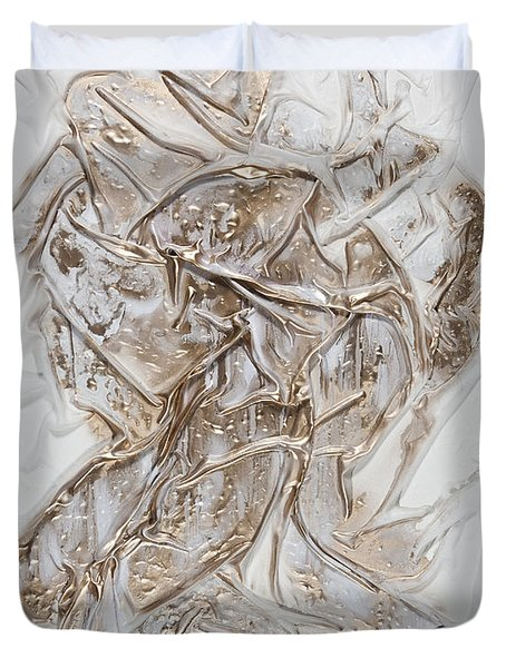 White With Gold Duvet Cover
