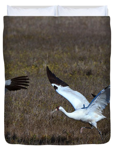 Whooping Cranes Duvet Cover