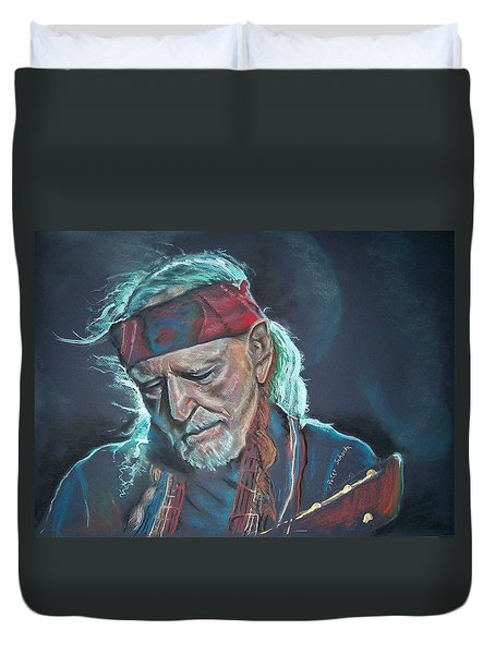 Duvet Cover featuring the pastel Willie by Peter Suhocke