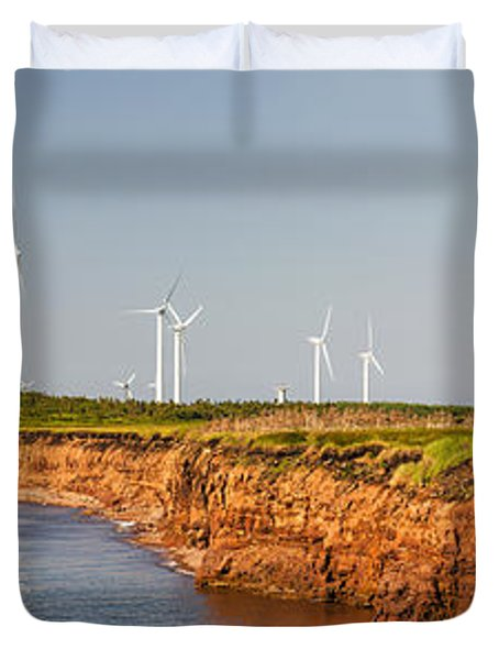 Wind Turbines On Atlantic Coast Duvet Cover by Elena Elisseeva
