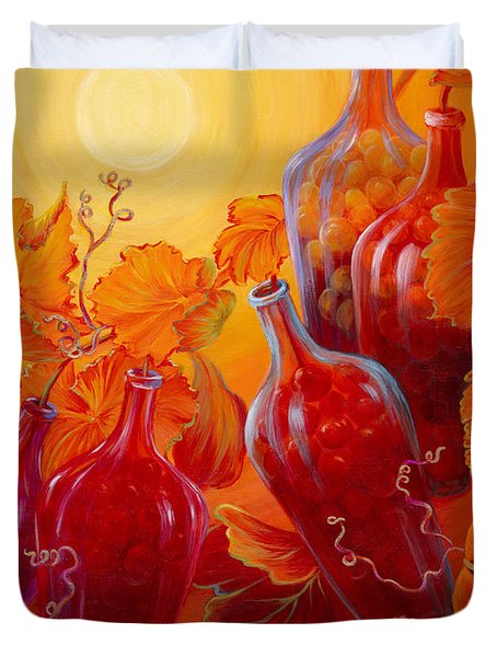 Duvet Cover featuring the painting Wine On The Vine II by Sandi Whetzel