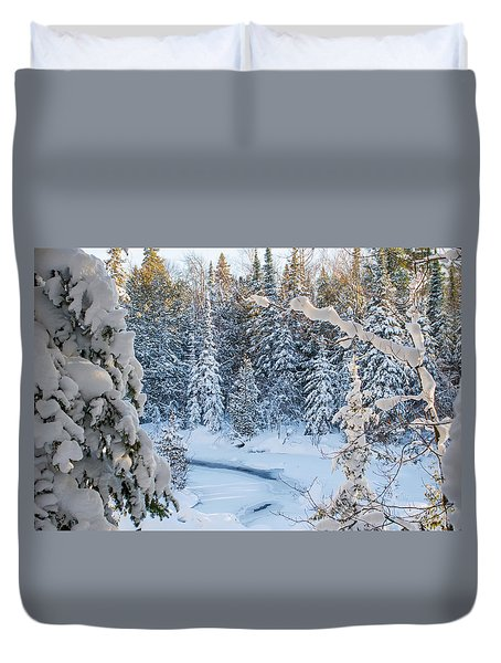 Winter At Grand Marais Creek Duvet Cover