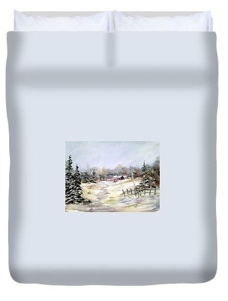 Winter At The Farm Duvet Cover