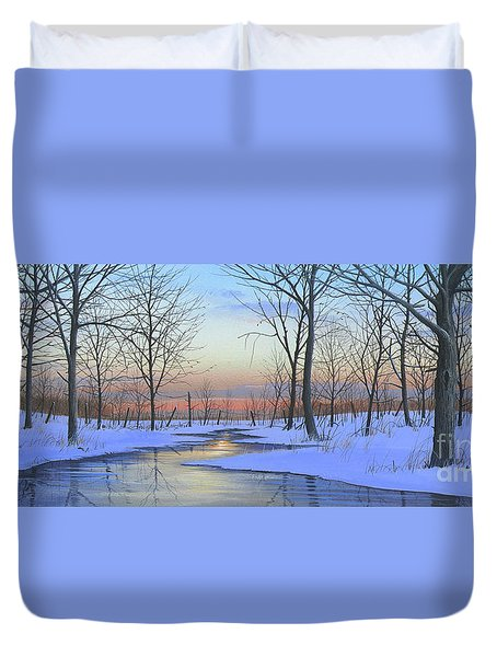 Duvet Cover featuring the painting Winter Calm by Mike Brown