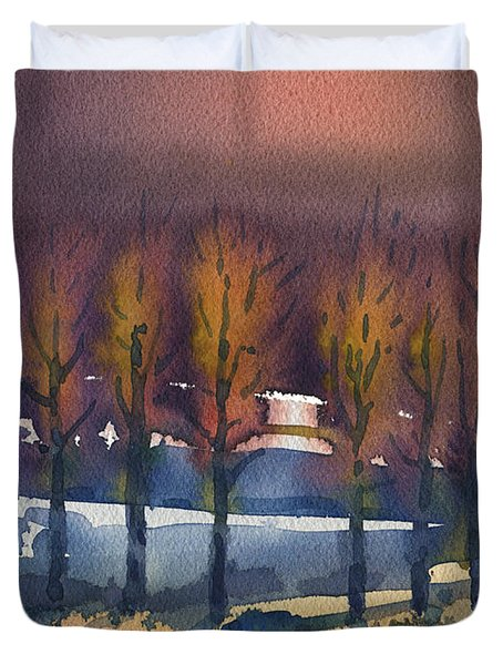 Duvet Cover featuring the painting Winter Fantasy by Donald Maier