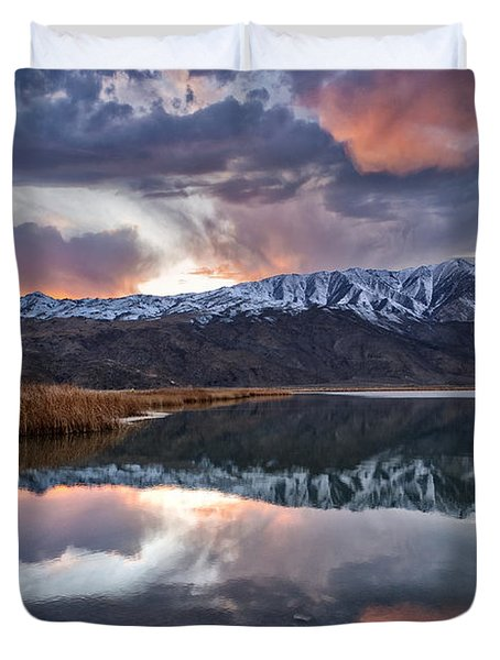 Winter Sunset Duvet Cover by Cat Connor