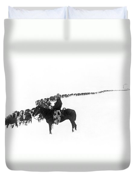 Wintertime Cattle Drive Duvet Cover