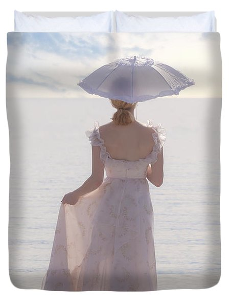 Woman At The Beach Duvet Cover by Joana Kruse