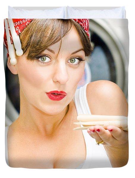 Woman Doing Washing Duvet Cover