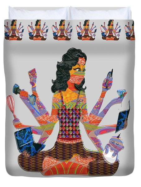 Modern Woman Female Spiritual Inspiration Multitasking Leadership Goddess Background Designs   Duvet Cover